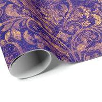 Royal Damask Crushed Velvet Purple Plumbrella Gold Wrapping Paper