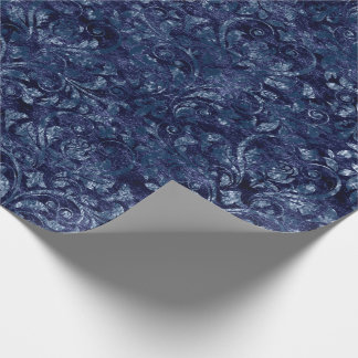 Royal Damask Crushed Velvetc Emerald Blue Navy Wrapping Paper