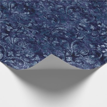 McTiffany Tiffany Aqua Royal Damask Crushed Velvetc Emerald Blue Navy Wrapping Paper