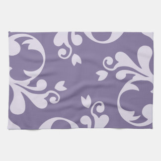Royal Damask, Damask Pattern - Purple White Hand Towel