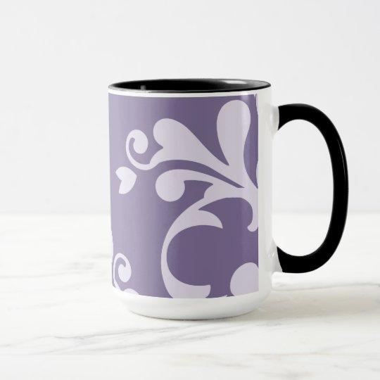 Royal Damask, Damask Pattern - Purple White Mug