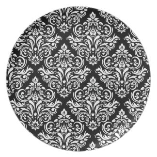 Royal Damask Elegant Dinner (black and white) Dinner Plate