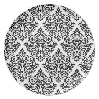 Royal Damask Elegant Dinner (white and black) Plate