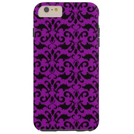 Royal Damask, Ornaments, Swirls - Purple Black Tough iPhone 6 Plus Case