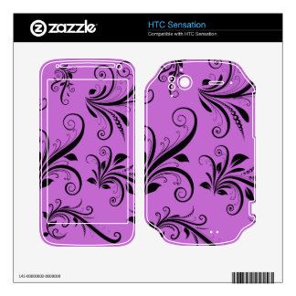 Royal Damask, Ornaments, Swirls - Purple Black Decals For HTC Sensation