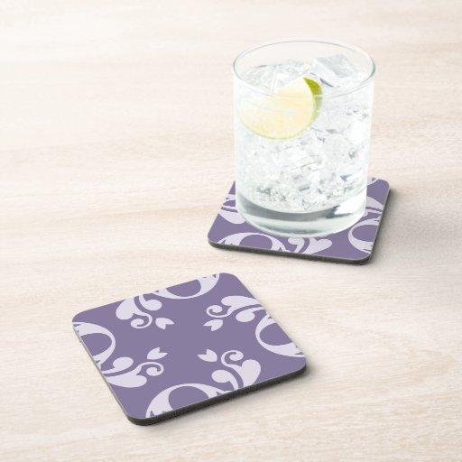 Royal Damask, Ornaments, Swirls - Purple White Drink Coaster