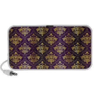 royal damask purple and gold design portable speaker