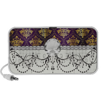 royal damask purple and gold design travelling speakers