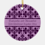 Royal Damask purple and lavender first Christmas Double-Sided Ceramic Round Christmas Ornament