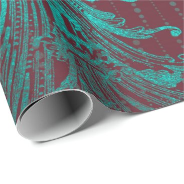 McTiffany Tiffany Aqua Royal Damask Turquoise Blue Floral Drops Burgundy Wrapping Paper