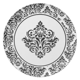 Royal Damask with Regal White Damask Emblem Melamine Plate