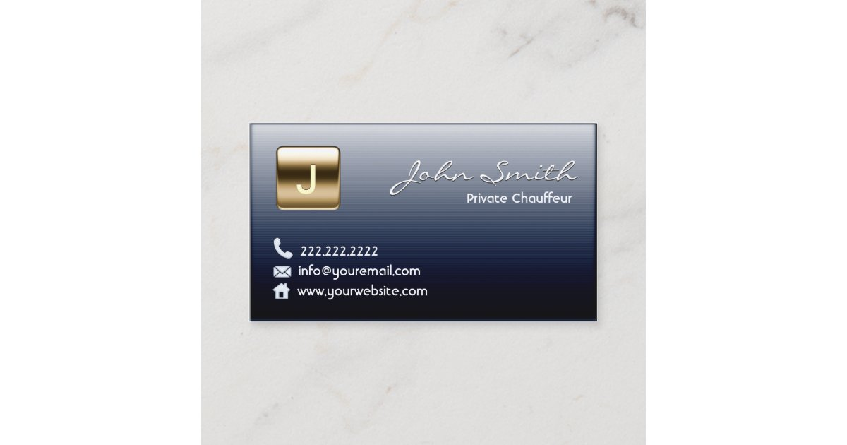 Royal Dark Metal Private Chauffeur Business Card | Zazzle.com