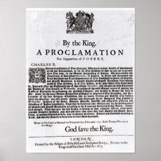 Royal Declaration, 1675 Poster