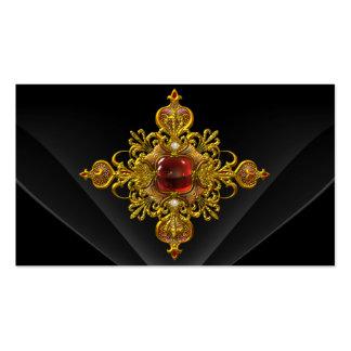 Royal Elegant Gold Rich Red Black Ornate Jewel 2 Business Card