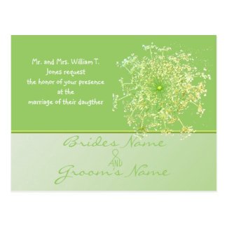 Royal Elegant Green Queen Annes Lace Wedding Invit Postcard