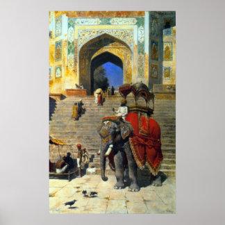 Royal Elephant At The Gateway To The Jami Masjid Poster