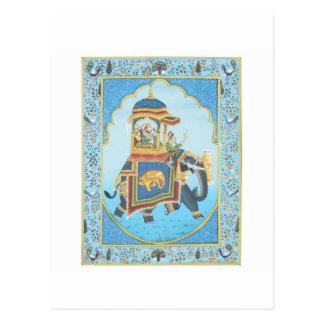 ROYAL ELEPHANT RIDE VINTAGE INDIAN ART POSTCARD