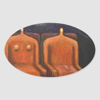 Royal Family (abstract dark human figures ) Oval Sticker