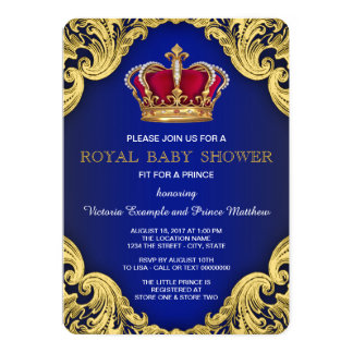 royal fancy prince baby shower card