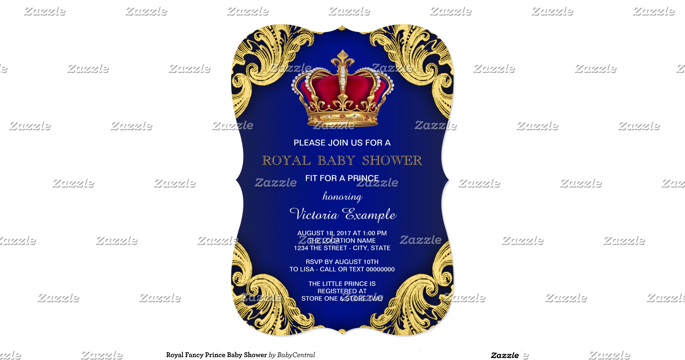 royal fancy prince baby shower 5x7 paper invitation card zazzle