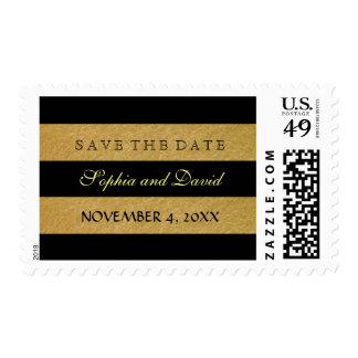 Royal Faoux Gold Leaf Stripes Wedding Postage