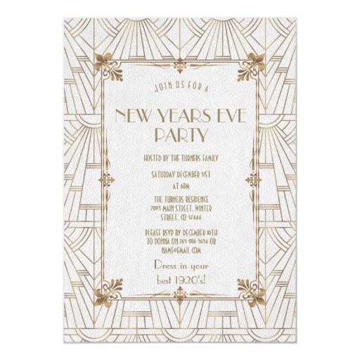 Royal Fleur-de-Lis Art Deco Gold New Year Party Invitation