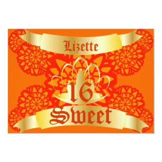 Royal Floral Butterfly Sweet Sixteen -Cust. Card