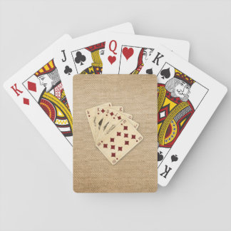 Royal Flush Diamonds on Burlap Background Playing Cards