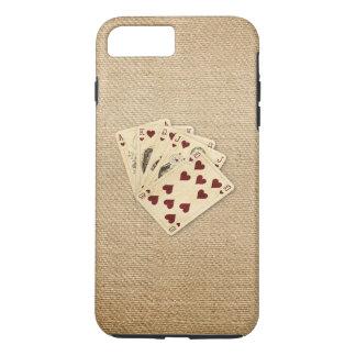 Royal Flush Hearts Vintage Burlap Background iPhone 7 Plus Case
