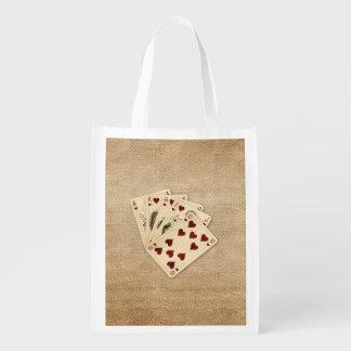 Royal Flush Hearts Vintage Burlap Background Reusable Grocery Bag