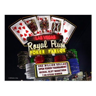 Royal Flush Poker FantaSign Retro Neon Sign Night Postcard