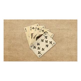Royal Flush Spades on Burlap Background Business Cards