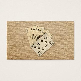 Royal Flush Spades on Burlap Background Business Card