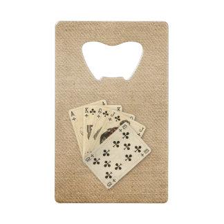 Royal Flush Spades on Burlap Background Credit Card Bottle Opener