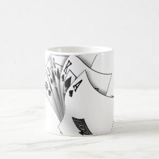 Royal flush, white coffee mug