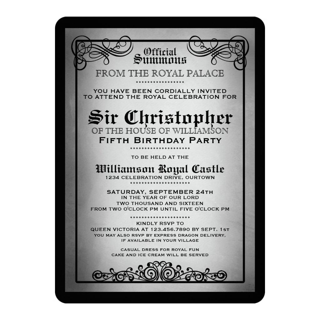 Royal Gala Birthday Party Invitations