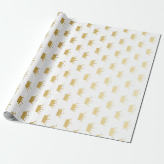 Royal Glam Golden Crown Princess White Vip Wrapping Paper