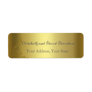 Royal Gold Abstract Peacock Wedding Address Label
