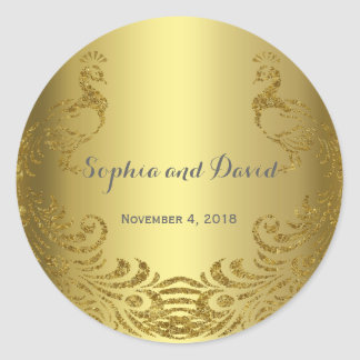 Royal Gold Abstract Peacock Wedding Custom Classic Round Sticker