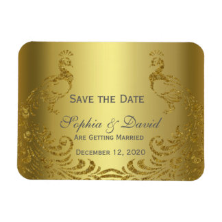 Royal Gold Abstract Peacock Wedding SAVE THE DATE Magnet