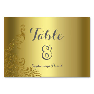 Royal Gold Abstract Peacock Wedding TABLE NUMBER