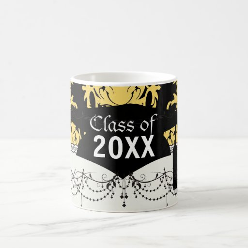 royal gold and black elegant damask graduation mugs