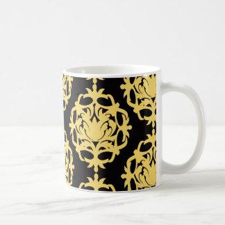 royal gold and black elegant damask coffee mug