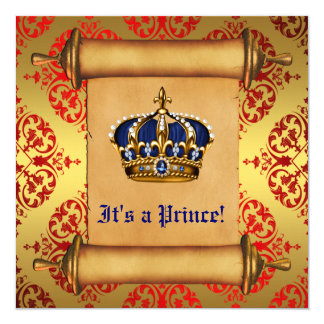 Royal Gold and Red Prince Baby Shower Invitations