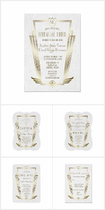 Royal Gold Art Deco Monogram White Wedding