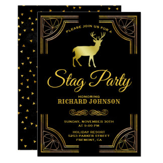 Royal Gold Art Deco Stag Bachelor Party Invitation