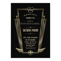 Royal Gold Black Art Deco Senior PROM Invite