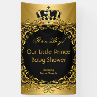 Royal Gold Black Crown Baby Shower Boy 2 Banner