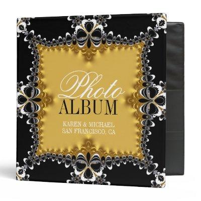 Royal Gold+Black Fractal Lace Photo Album Binder