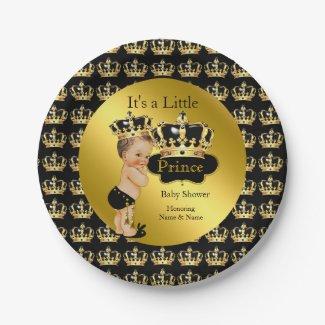 Royal Gold Black Prince Crown Baby Shower Brunette